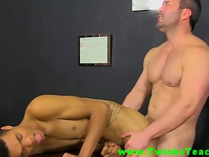 Naughty ebony twink butt grinded on teachers desk during his class