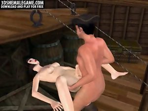 Sexual 3D cartoon shemale pirate getting screwed