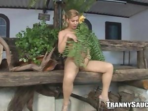 Chesty tempting blonde shemale doll tugs her prick outdoors