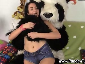 Fetish raunchy teen gets off with toy panda feature