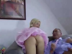 Stiff looking blondie nympho backs that dirty ass up on aged prick