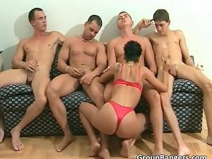 Gangbang with a stiff slutty girl and and her