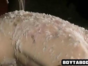 Tied up stud covered in wax getting his butt screwed
