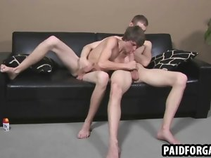 Straight fellow fellatio and tugging a penis for cash feature 2