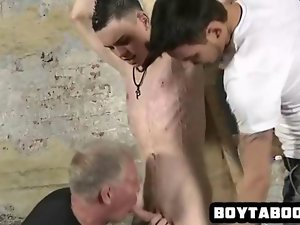 Attractive stud covered in filthy wax getting his shaft stroked