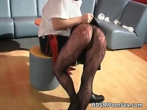 Obscene tempting blonde dark haired cunt gets tied film 2