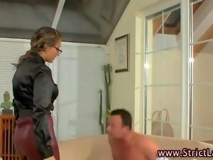 Saucy fetish mistress dominates