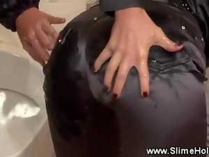 Luscious lezzies love being drenched in cum