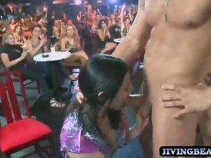 Birthday young woman licks stripper prick