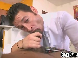 Business man gagging on lustful ebony pipe