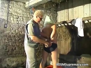 BDSM play in basement where lad ties