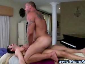 Straighty cums for bear after banging
