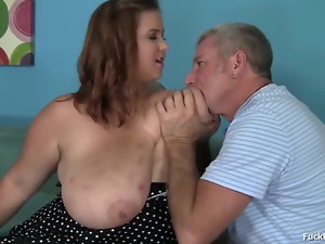 Thick Dark-haired Teenage With Massive Tits Screwed