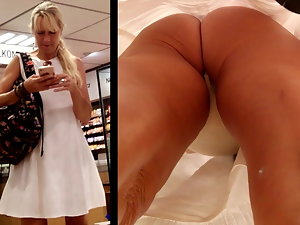 Upskirt - Mommy - white dress, white g-string