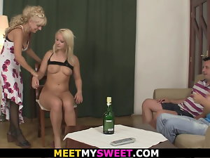 Blondie mom and aged dad have joy with son's sex partner