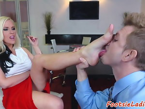 Footfetish chick assfucked in the office