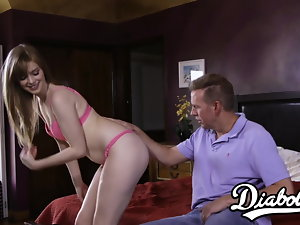 Teenage slutty girl Dolly Leigh fed jizm after squirt inducing plow