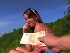 The bloke offers some cash to the unknown lady for a quick blowjob