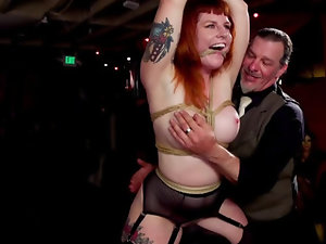 Ginger cowgirl craves to be punished in public