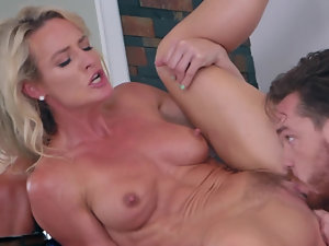 Bathroom counter pussy pounding with a beautiful milf